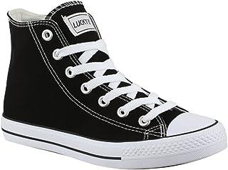 Elara Baskets Unisexes Chaussures de Sport Hautes Textile Chunkyrayan 019-A-Schwarz-39