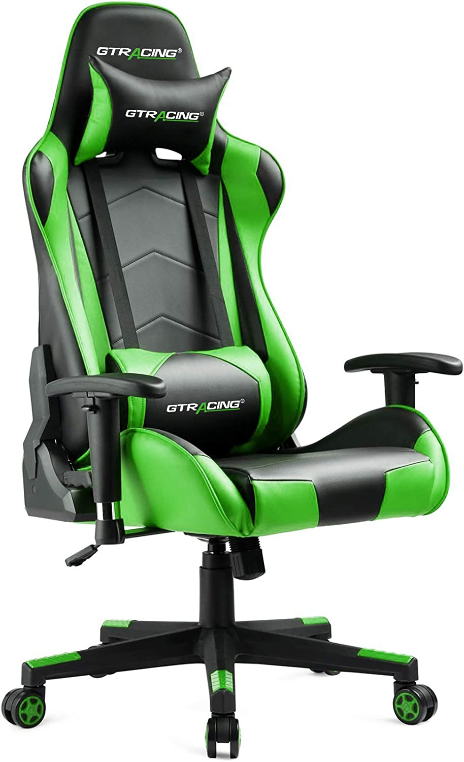 GTRACING Gaming Chair Racing Office Computer Game Chair Ergonomic Backrest and Seat Height Adjustment Recliner Swivel Rocker with Headrest and Lumbar Pillow E-Sports Chair (Green)
