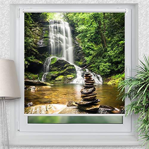 La-Melle » Rollo Wasserfall im Wald | Verschiedene Größen | Klemmrollo ohne Bohren | auch für Wand- oder Deckenbefestigung, Größe: B 120 x H 120 cm