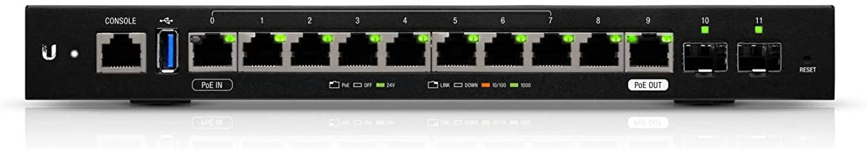 Ubiquiti Networks 12-Port EdgeRouter 12 Advanced Network Router with 10x Gigabit RJ45 Routing Ports 2X Gigabit SFP Ports .with Rackmount Bracket to Mount EdgeMAX Products in Standard 19