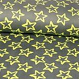 Nicki Fleece Sterne grau gelb Kinderstoffe - Preis gilt