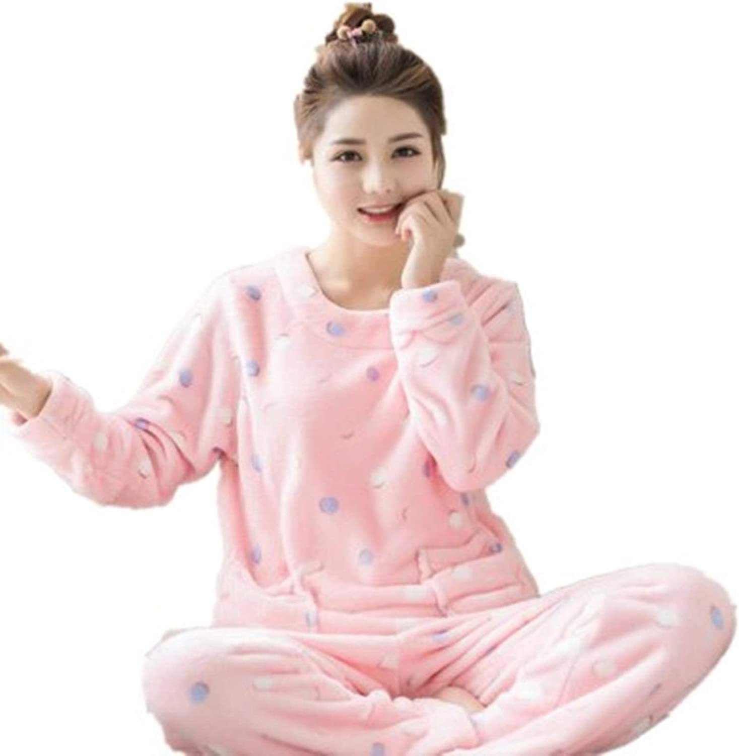 100Expectations Flannel Pajamas Set Polyester Full Trousers Two Piece Pajama Set Print Polka Dot Home Clothing