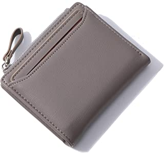 Altally Wallets for Women Small Bifold Leather Lady Short Wallet with Removable ID Card Holder Slots (Grey)