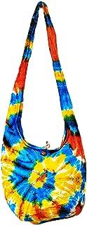Thai Hippie Tie Dye Hobo Sling Crossbody Shoulder Bag Purse Handmade Zip Mix Pattern Cotton Gypsy Boho Messenger Medium