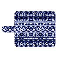 スマQ Rakuten Hand P170 ミラー スマホケース 手帳型 Rakuten 楽天 ラクテン ハンド (D.ブルー) 北欧 トナカイ ニット風 ami_vc-354_sp