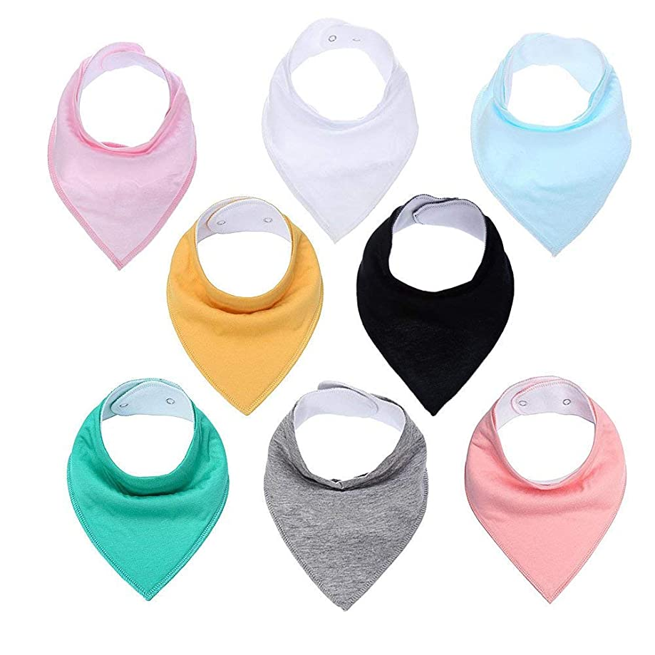 Emopeak 10 Pack Baby Bandana Drool Bib, 100% Cotton Baby Bibs, Unisex Gift Set Soft and Absorbent Bibs (Multicoloured-1)