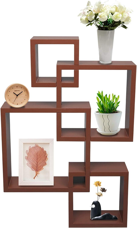 Fosurul Set of 4 Intersecting Popular standard Brown Wall Color quality assurance Decorative Shelf
