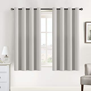 White Curtains Room Darkening Curtain Drapes for Bedroom Thermal Insulated Room Darkening Curtain Panels - Window Treatments Grommet Drapes for Living Room - 52x63 Inch, Set of 2