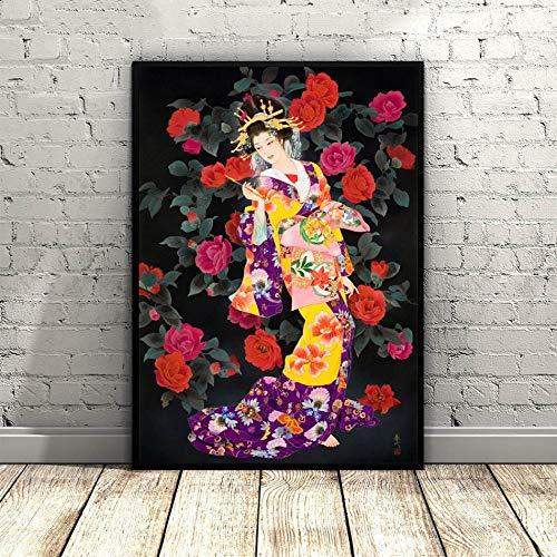 Impression Sur Toile,Fleurs Rose Japonais Geisha Peinture Traditionnelle Asiatique Affiches Murales Art Mural Photo Artwork,Modulaire Accueil Cuisine Chambre Bureau Décoration Verticale,20*30Cm