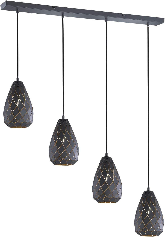 Trio Leuchten Pendelleuchte Onyx 301300442, Metall, anthrazit   innen Goldfarbig, Kabel gewebeummantelt schwarz