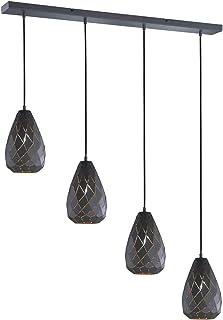 Trio Leuchten Lampa wisząca Onyx 301300442, metal, antracyt/wewnątrz kolor złoty, kabel pokryty tkaniną czarny