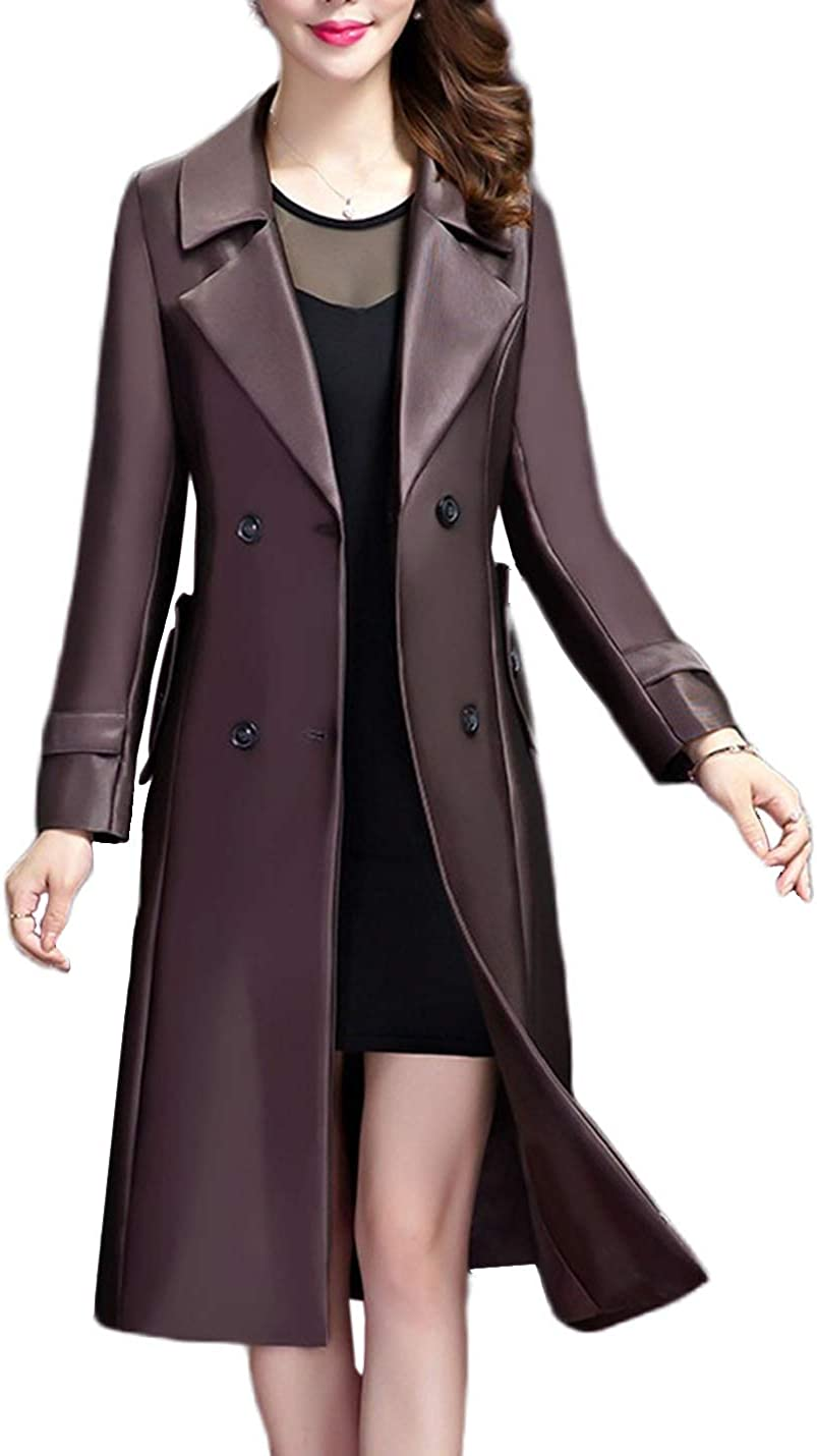 Uaneo Women's Casual Slim Lapel Collar Mid Long Faux PU Leather Jacket Coats(Purple-XS)