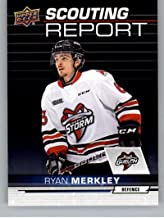 2018-19 UD CHL Scouting Report Hockey #SR-9 Ryan Merkley Guelph Storm Official Canadian Hockey League Trading Card From Upper Deck