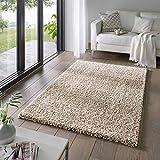 Taracarpet Shaggy Teppich Wohnzimmer Venezia Hochflor Langflor Teppiche modern Beige 140x200 cm