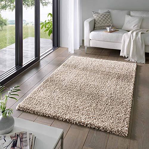 Taracarpet Shaggy Teppich Wohnzimmer Venezia Hochflor Langflor Teppiche modern Beige 160x230 cm