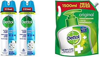Dettol Disinfectant Sanitizer Spray for Germ Protection on Hard & Soft Surfaces, Spring Blossom, 225ml, Pack of 2 & Dettol...