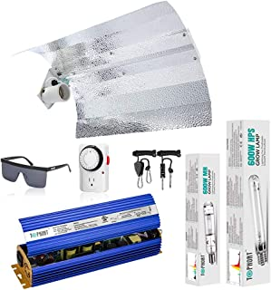 TOPHORT 600 Watt HPS MH Grow Light Electronic Dimmable Kits Wing Reflector Hood Set-Easy to Set Up