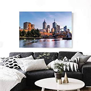 City Canvas Wall Art Early Morning Scenery in Melbourne Australia Famous Yarra River Scenic Print Paintings for Home Wall Office Decor 36