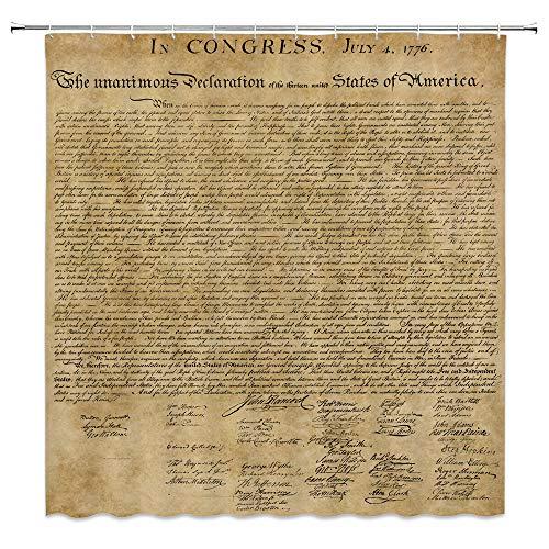 Vintage Duschvorhang Antike amerikanische Unabhängigkeitserklärung Manuskript Badezimmer Dekor Set mit Haken, 180 x 180 cm, Polyester, Braun Schwarz