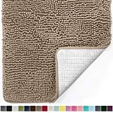 Gorilla Grip Original Luxury Chenille Bathroom Rug Mat, 44x26, Extra Soft and Absorbent Large Shaggy Rugs, Machine Wash Dry, Perfect Plush Carpet Mats for Tub, Shower, and Bath Room, Beige