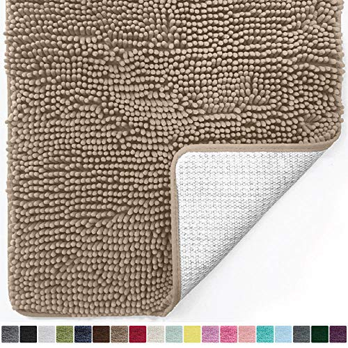 Gorilla Grip Original Luxury Chenille Bathroom Rug Mat, 30x20, Extra Soft and Absorbent Shaggy Rugs, Machine Wash Dry, Perfect Plush Carpet Mats for Tub, Shower, and Bath Room, Beige
