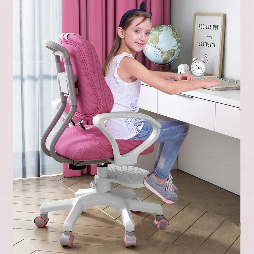 Kids Computer Chair Kids Desk Chairs Rolling Chair Pink Multi-Function Adjustable Height Childrens Learning Chair Ergonomic Sitting Posture Correction Computer Chair Suitable for 3-18 Years Old