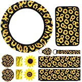 SEVENS 10 PCS SunflowerCarAccessories for Women with Universal Console Cover, Adjustable SteeringWheelCover, Sunflowers Key Ring, Seat Belt Shoulder Pads, Car Vent Decorations& Cup Coaster