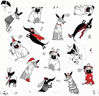 bag pack home Funny Seamless Texture Dogs Christmas Costumes Animals Wildlife Throw Pillow Case Cushion Cover Pillowcase Watercolor 18x18 for Couch