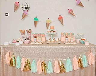 SoarDream Sequin Tablecloth Party Champagne Blush 60inx102in Shiny Table Overlay Shimmer Wedding Table Covers Elegant for Wedding Birthday Home Decorations