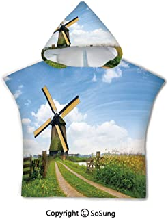 Windmill Decor Toddler Hooded Beach Bath Towel,Blooming Spring Field in Holland Old Traditional Architecture,1-7 Years Old Microfiber Bath Robe,Green Light Blue Apricot,for Beach Pool Shower