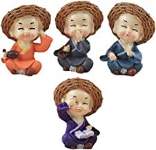 Fenteer 4 Pcs Traditional Cute Small Buddha Statue Sculptures Monk Figurine Monk Car Interior Display Decor Car Dashboard ...