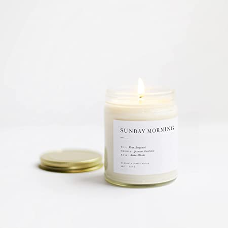 Brooklyn Candle Studio Sunday Morning Minimalist Candle | Vegan Soy Wax Luxury Scented Candle, Hand Poured in The USA, 50 Hour Slow Burn Time (7.5 oz)