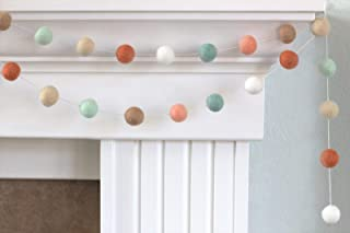 "Earth Toned Spring Easter Felt Ball Garland- 1"" (2.5 cm) Wool Felt Balls"
