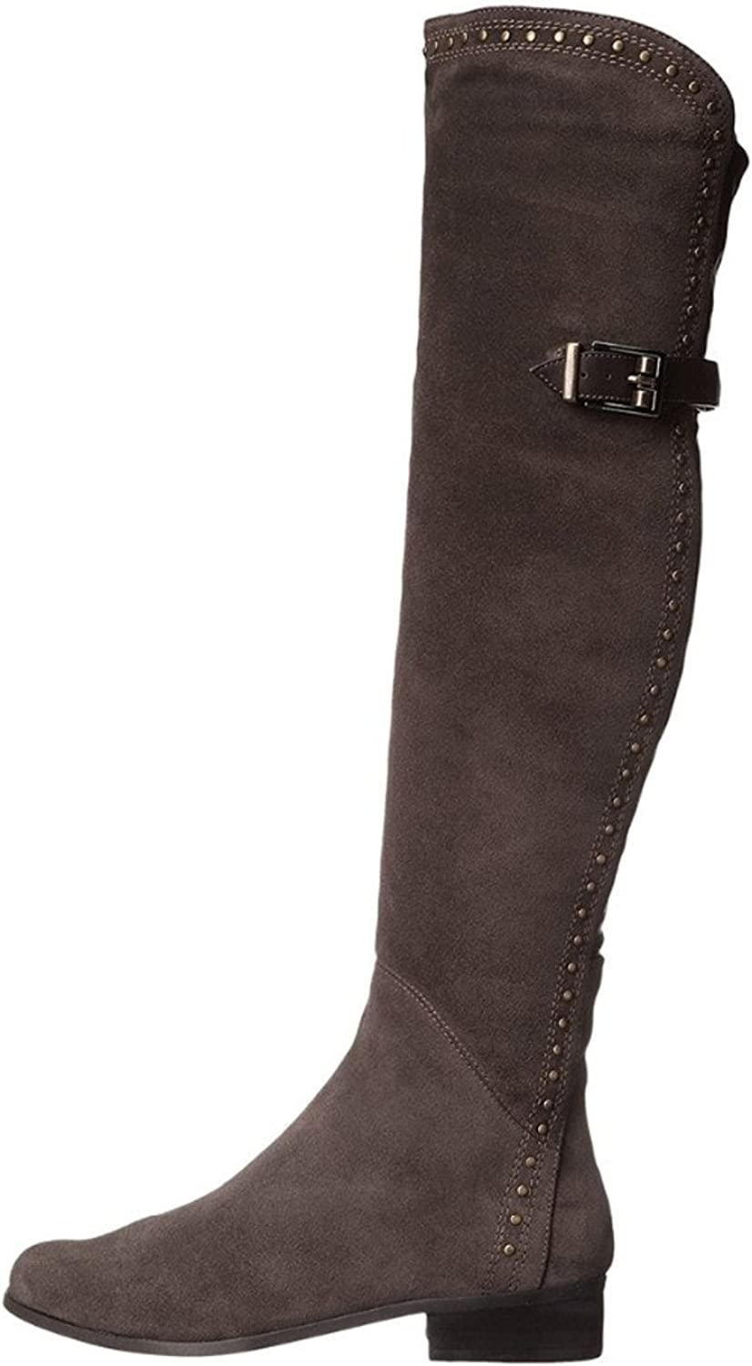 AIWEIYi Womens Suede Buckles Low Heel Knee High Women Boots Motorcycle Riding Boots Brown