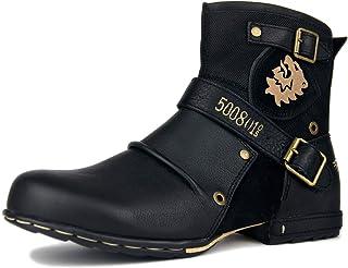 Bottes Chukka à la Mode pour Hommes avec Fermeture éclair Bottes de Moto Rétro Bottines Punk Cowboy Chaussures Décontracté...