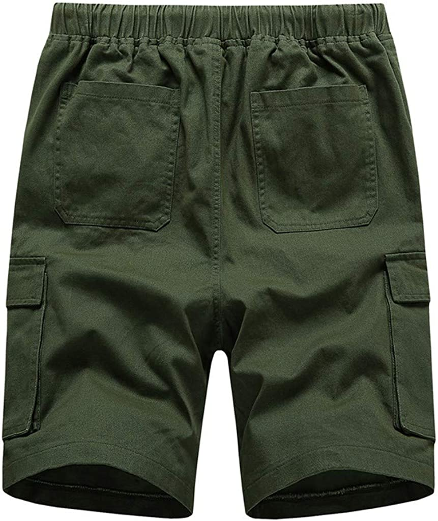 MODOQO Men's Cargo Shorts with Pockets, Solid Color Outdoor Summer Shorts Zipper Pants