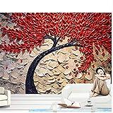 Weaea 赤、抽象的な、運勢、木、絵、ナイフ、ペン、背景、壁、3D、壁紙、壁画-400X280Cm
