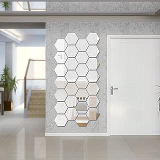 BLEUM CADE Hexagon Mirror DIY 12 PCS Geometric Hexagon Mirror Decoration 3D Mirror Wall Stickers Removable Hexagon Mirror Personalized Art Hexagonal Acrylic Mirror (6.3 inches, Silver)