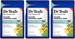 Dr. Teal's Epsom Salt - Muscle Recovery Soak - Whole Body Relief with Arnica, Menthol, Eucalyptus - 2lb bag (Pack of 3)