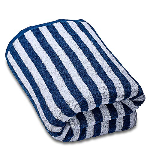 SEMAXE Striped Bath Towel Premium Bathroom Towel Highly Absorbent Blue and White1 Bath Towel600 GSM