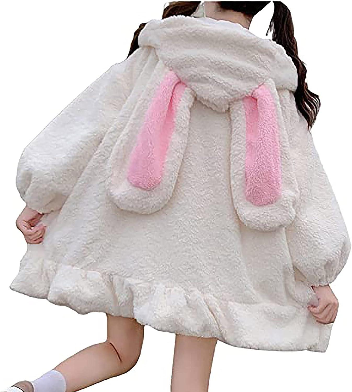 Teen Girl's Cute Rabbit Cartoon Jacket Long Sleeve Shirt Zipper Plush Soft Outwear Solid Casual Loose Fit Tops Blouses