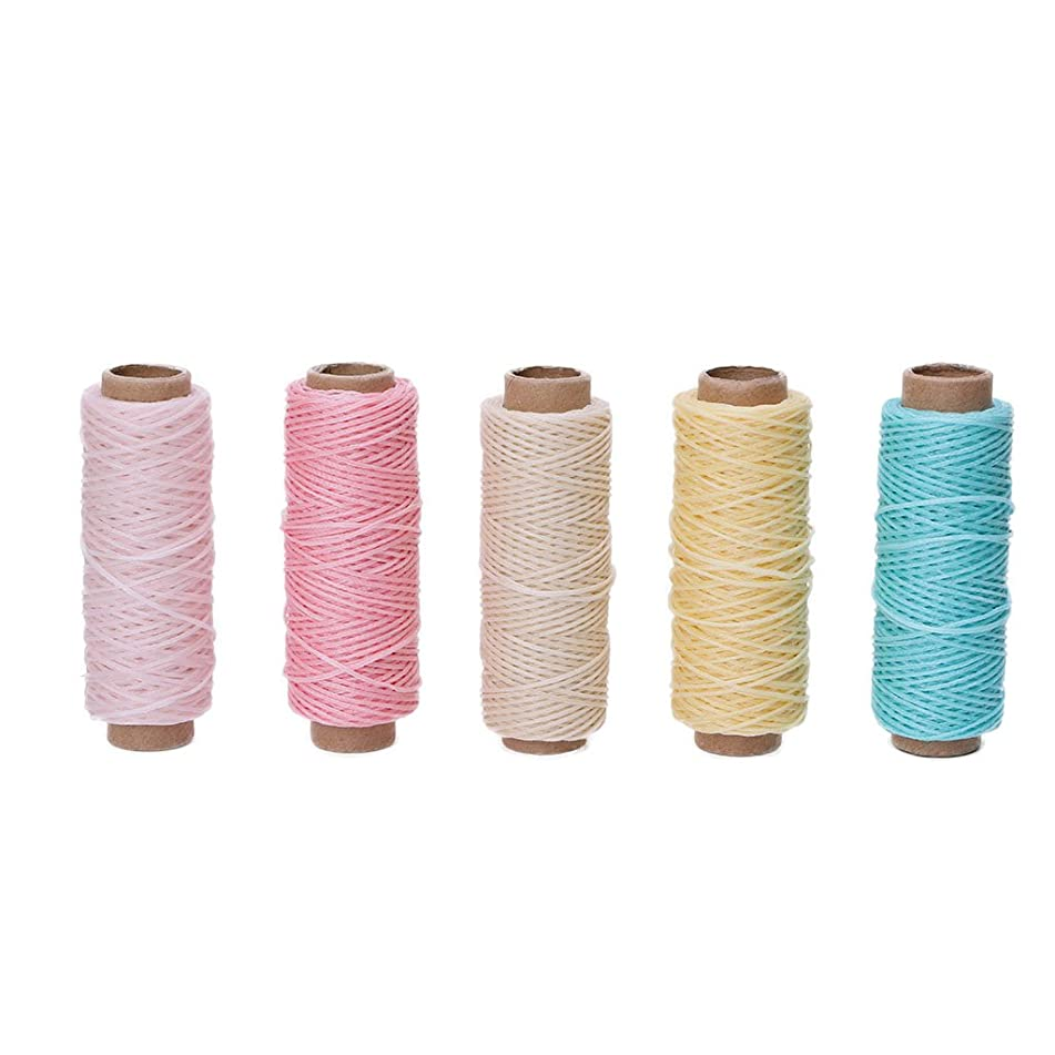BCHZ 5Pcs 50M 150D Leather Sewing Flat Waxed Thread Wax String Hand Stitching Craft