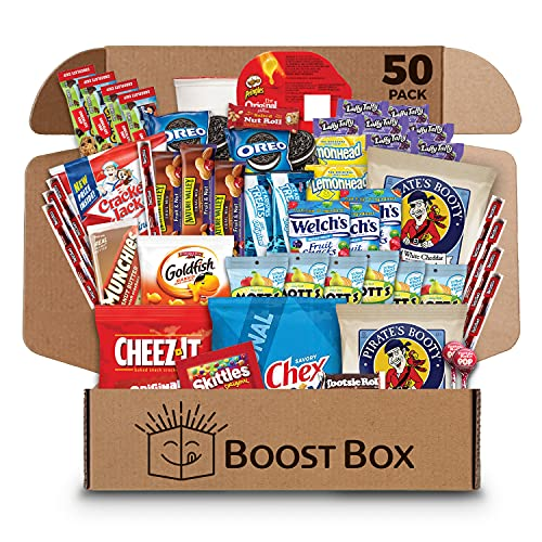 BOOST BOX (50) – Premium Snack Boxes, Care Packages & Gift Baskets for Kids, College Students, Girls & Boys Chips Cookies Candy Treats Food Employee/Office/Volunteer Staff Military Adults Kids College Students Birthday Recognition