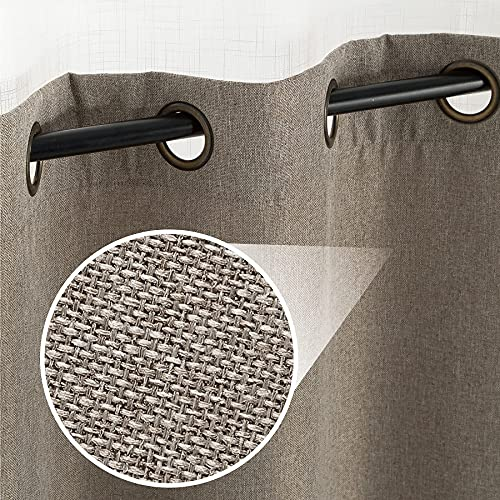 Bedsure Linen Textured Curtains, Grommet Curtains for Living Room 63 inch Length 2 Panels, Beige Curtains for Bedroom(52 X 63inch,Beige)