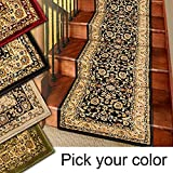 Marash Luxury Collection 25' Stair Runner Rugs Stair Carpet Runner with 336,000 points of fabric per square meter, Black