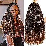 8 Packs 20 Inch Pretwisted Passion Twist Crochet Hair Tiana Prelooped Passion Twist Hair Crochet Braids Crochet Braiding Hair Curly Crochet Hair Pretwisted Spring Twist Hair (20 Inch, T27#)