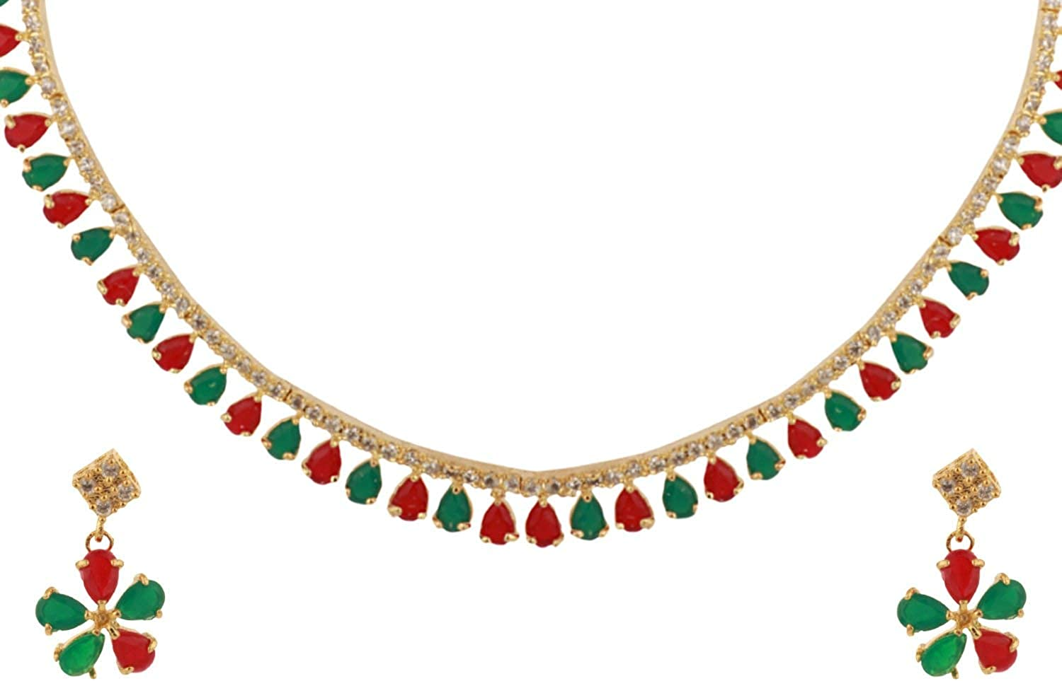 Efulgenz Bridal Crystal Cubic Zirconia Red Green Collar Necklace Earrings Jewelry Set for Women Girls Bride Bridesmaids…