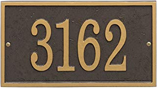"""Whitehall Personalized Cast Metal Address Plaque - Custom House Number Sign - Rectangle (11"""" x 6.25"""") - Bronze with Gold Numbers"""