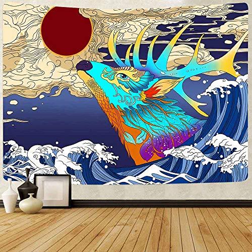 Puzzle 1000 piezas Pintura japonesa de la decoración del atardecer de la ballena koi del hippie de la ola del océano puzzle 1000 piezas adultos Rompecabezas de juguete de desc50x75cm(20x30inch)