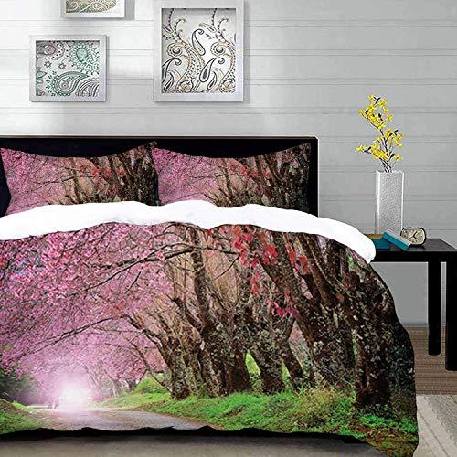 ropa de cama - Juego de funda nórdica, jardín japonés, parque nacional en Chiang Mai Cherry Blossoms Spring Picture, rosa azul claro, juego de funda nórdica de microfibra con 2 fundas de almohada de 5